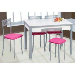 Mesa de cocina extensible 110x70 Arosa encimera madera blanco