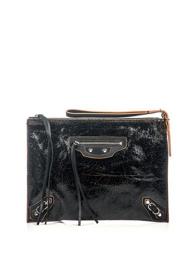 Balenciaga  A4 Paper cracked leather clutch (129766)  $733