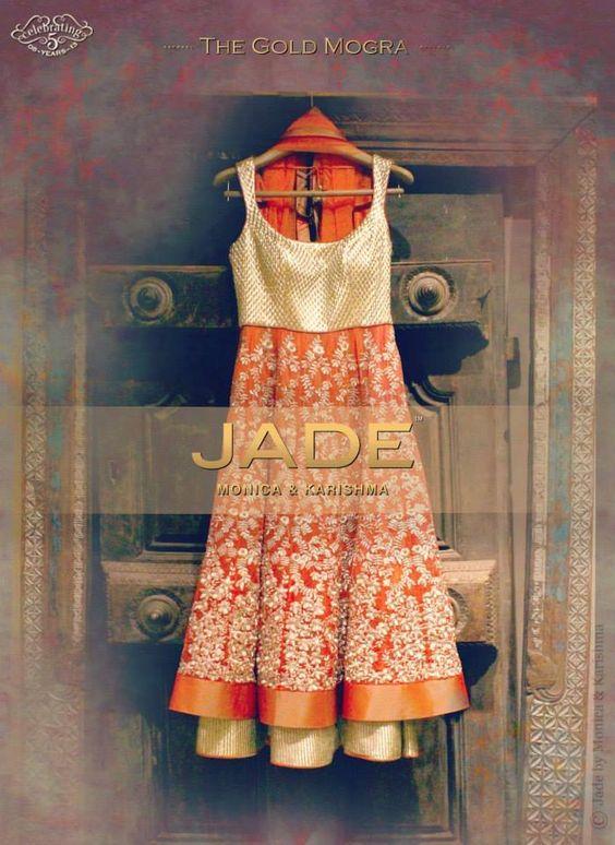 JADE's Tangerine Anarkali from the 'Gold Mogra' collection exemplifies Opulence! #jadebyMK #jade_byMK #jade #anarkali #mogra #orange #gold