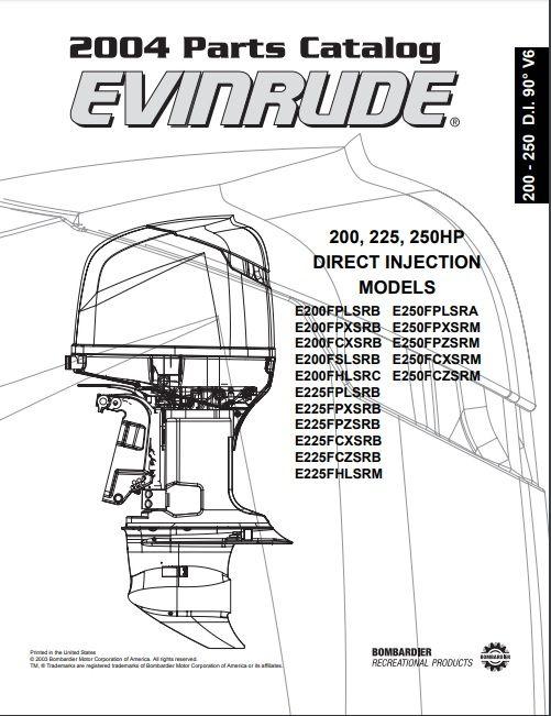 2004 Johnson Evinrude 200 225 250hp Direct Injection Parts Catalog Manual Download Dsmanuals Repair Manuals Repair Manual