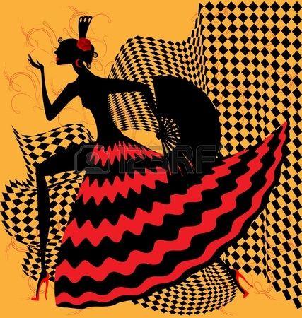 el fundamento amarillo es un bailar n de flamenco abstracto silueta negra y roja Foto de archivo