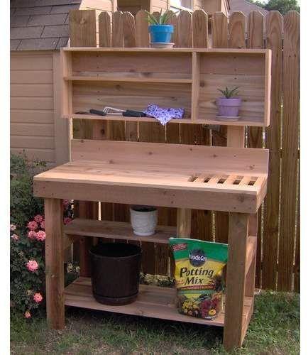 Threeman Products Ultimate Cedar Potting Bench Gardeningdiy Potting Bench Pallets Garden Garden Bench Diy