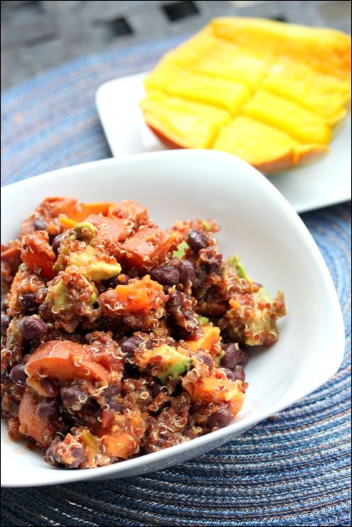 Sweet Potato Black Bean Quinoa Salad. Healthy, easy, and a great source of protein. | fannetasticfood.com