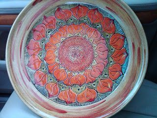painted sgraffito
