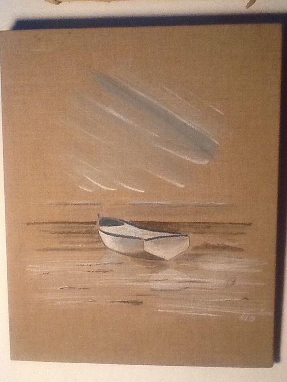 tableau bateau bord de mer sur toile de lin toile de lin peintures abstraites et d coration. Black Bedroom Furniture Sets. Home Design Ideas