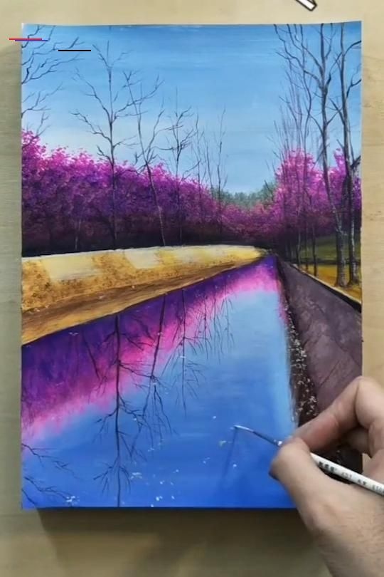 Painting A Cherry Blossom Tree Along The River With Acrylics In 10 Minutes 5minutencraftsvid Landscape Art Painting Nature Art Painting Painting Art Lesson