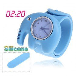$3.91 Lovely Pat Silicone Strap Quartz Wrist Watch with Elephant Shaped Case - Blue