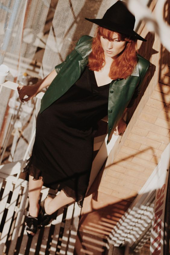 Lisa Banholzer, Blogger Bazaar, Feuerleiter, NY, New York, Blogger, Chafor, Leather Jacket, Green, Boxy, Red hair, bangs, by marlene birger, dress