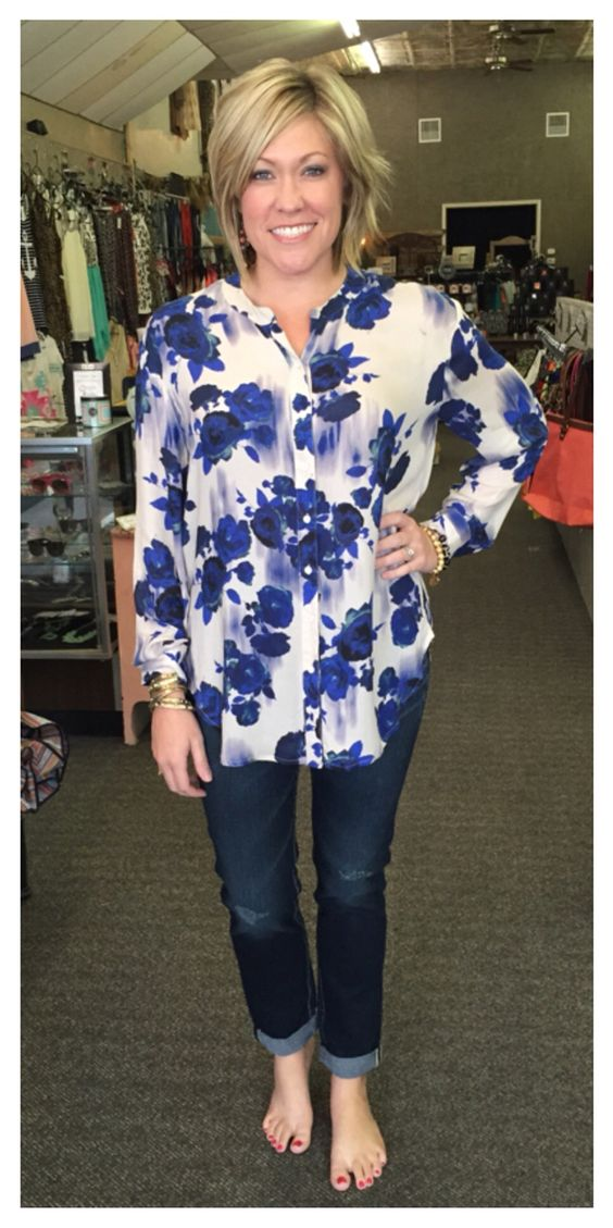 Floral button down, $59.95 Silver Jeans Company mid rise boyfriend jeans, $89