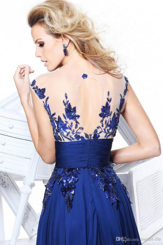 Wholesale In Stock 2014 Cheap Sexy Royal Blue Party Dresses Under $100 Long Prom Dress Evening Gowns Pageant Dress A-Line See Through Applique ssj, Free shipping, $82.11/Piece | DHgate Mobile