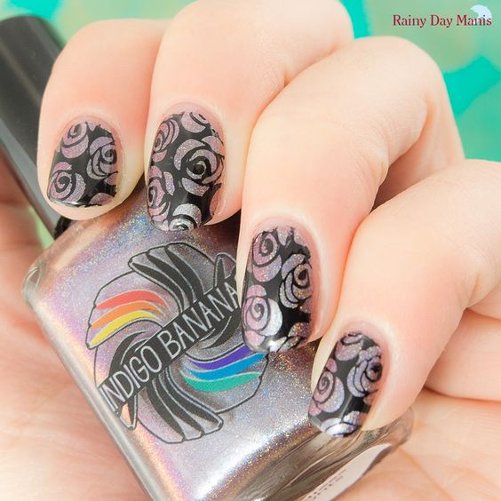 Indigo Bananas Endless Nights Stamped with MoYou London Pro plate 07