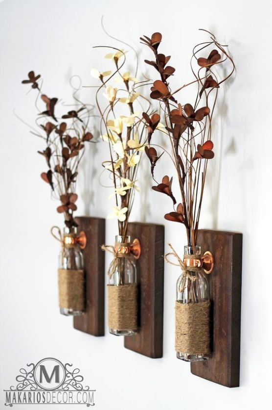 10 Wonderful Diy Hanging Wall Vases Rustic Diy Rustic Wall Sconces Rustic Wall Decor