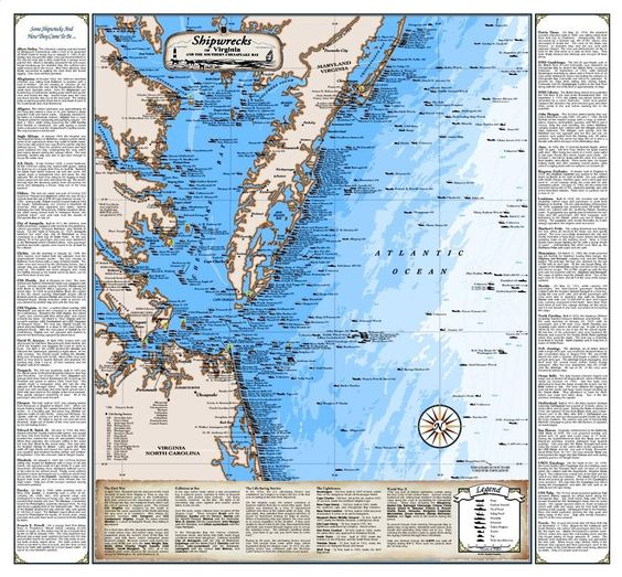 Shipwrecks of Virginia Map 215x23 1899 – Virginia Travel Map