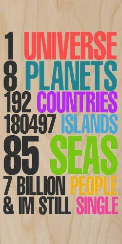 ´1 Universe, 8 Planets, 192 Countries, 180,497 Islands, 85 Seas, 7 Billion People, & I´m Still Single´ Funny Humor - Plywood Wood Print Poster Wall Art: