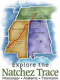 The Natchez Trace Parkway is a 444-mile drive through exceptional scenery and 10,000 years of North American history.  It is a two-lane parkway road that extends 444 miles from Natchez, Mississippi to Nashville, Tennessee.The road is maintained by the National Park Service, and has been designated an All-American Road.: