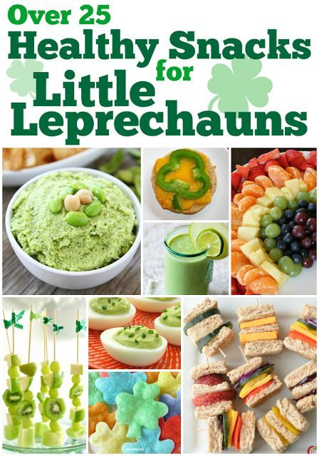 Over 25 Healthy Snacks for St. Patrick's Day. Great chocies for toddlers, preschoolers, and older children! Plenty of fruits and veggies, with not too much sugar or artificial dyes.