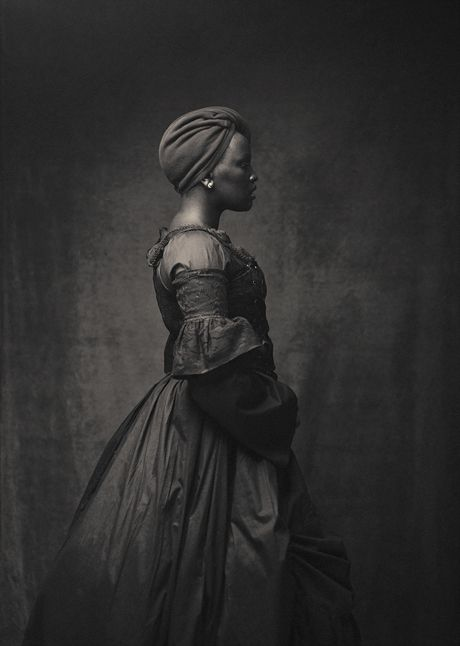 This one is NOT vintage, but © Maxim Vakhovskiy, from his series BLACK VENUS. This woman has the carriage of a dancer - so collected and perfectly poised - look how delicately her head balances on her neck! Another portrait in the series, I think of the same woman, is at https://www.pinterest.com/pin/38702878022466795/