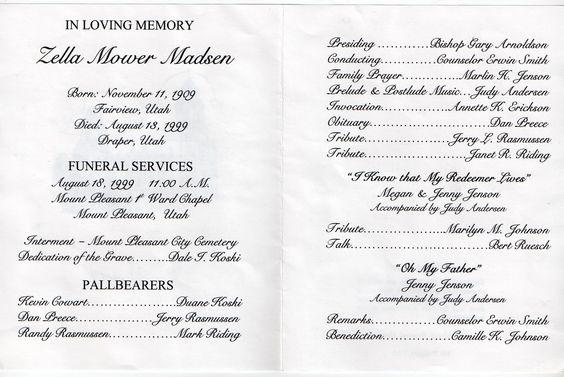 Memorial Service Programs Sample  Mt Pleasant Obituary Page Zella