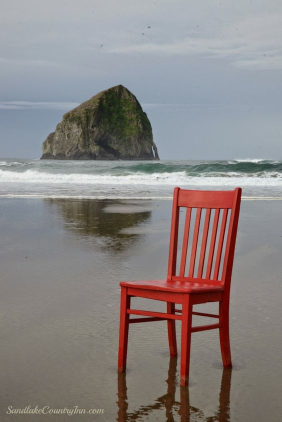 The Red Chair at Haystack Rock, Pacific City #redchairtravels #traveloregon #tillamookcoast