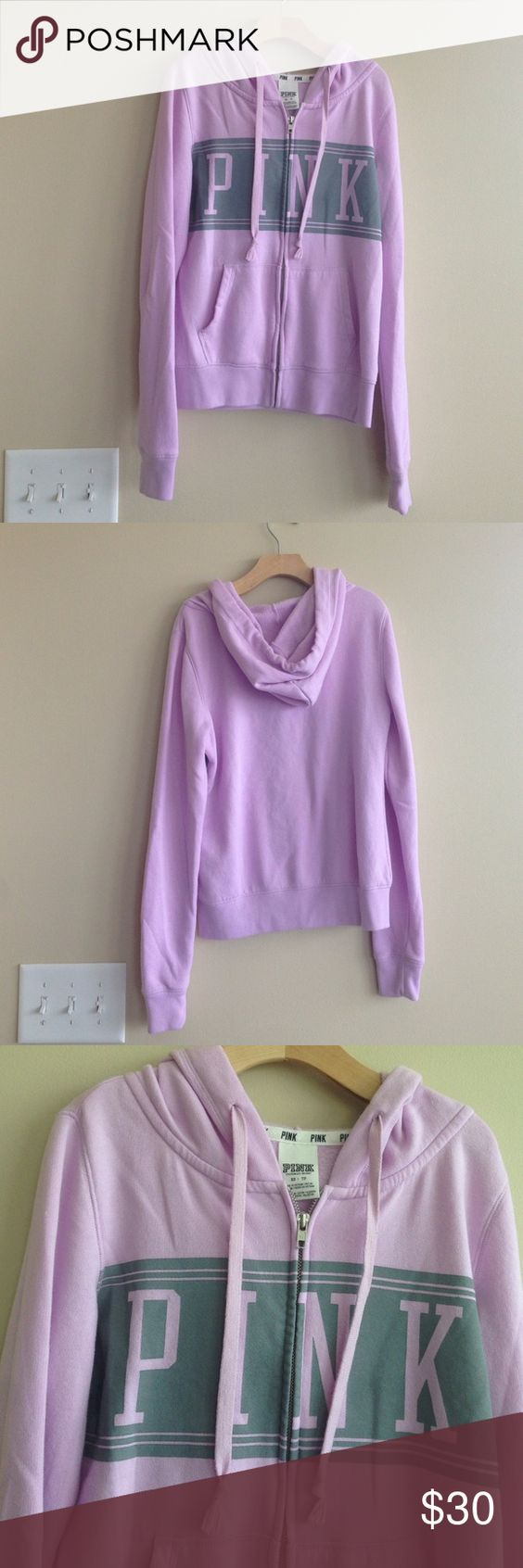 VIctoria's Secret PINK Light Purple Hoodie XS Victoria Secret PINK Light Purple Hoodie. Light Gray Band on Front with Light Purple PINK across Chest. Super Cute and Super Soft. Only worn a couple of times. In great condition no tears, stains, etc. Xs! Normal wash wear including light piling on sleeves and underarms. PINK Victoria's Secret Tops Sweatshirts & Hoodies