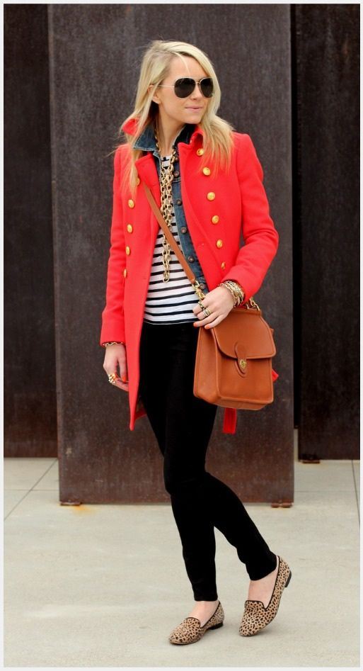 coral coat with gold buttons, black jeans, and cheetah shoes...I like!
