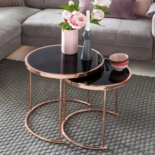 Coen 2 Piece Nest Of Tables Canora Grey Nesting Tables Metal Side Table Black Coffee Tables
