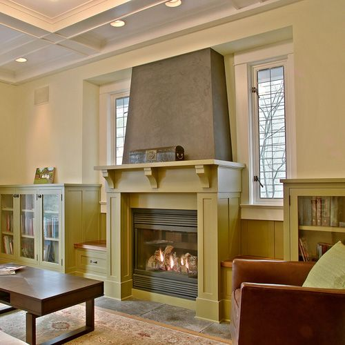 Simple fireplace surround window benches on each side for Fireplace with windows on each side
