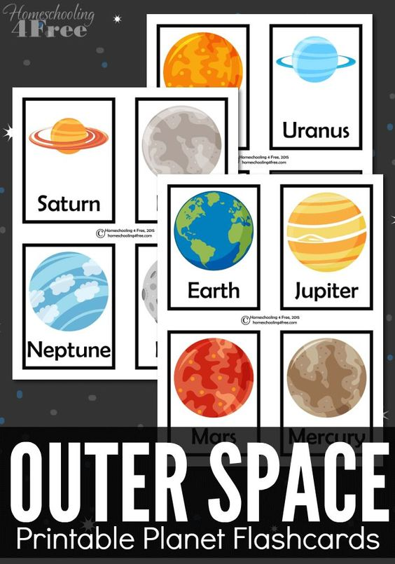 FREE outer space printable planet flashcards. Great for a space unit or print doubles and make it a matching game.: