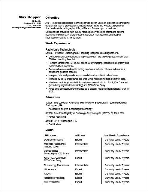 Sample Resume For A Radiography Professional Radiology Technologist Resume Examples Resume Skills