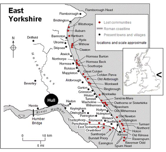 East Yorkshire coastal erosion map showing the lost towns and