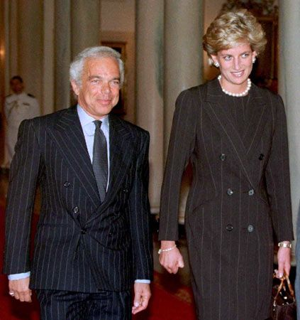 September 24, 1996: Diana, Princess of Wales with Ralph Lauren attends a White House event in Washington, DC. The ladies were guests of US First Lady Hillary Clinton at a fund-raising breakfast to aid cancer research.
