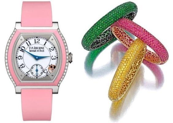 F.P. Journe Elègante Pink paired with gem-set bangle-bracelets