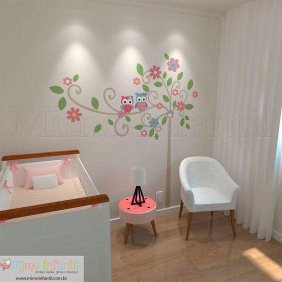 Adesivo de parede para decoração de quarto de bebê e infantil Flores, coruji