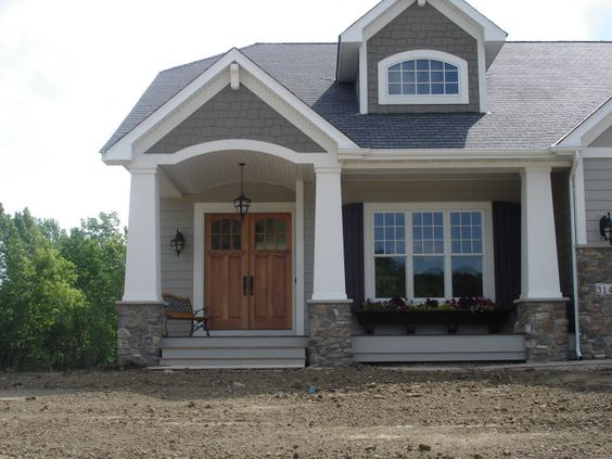 Exterior columns craftsman style home with front porch for Craftsman columns