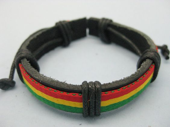 Shoply.com -fashion bracelet made of red yellow green color cloth cover for black leather. Only $3.00