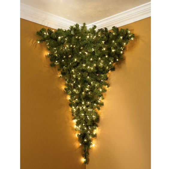 """The Upside Down Corner Christmas Tree  Thank God, for years I've been saying, """"If only this tree were upside down. And in a corner."""""""