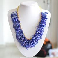 Beading Tutorial - How to Make an Ocean Blue Seed Bead Cluster Necklace Easily