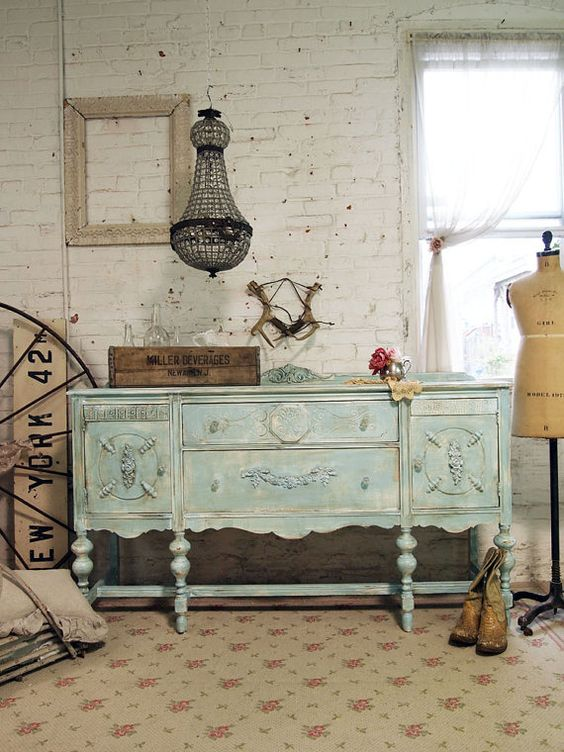 Reservebevpainted cottage chic shabby aqua french server / buffet ...