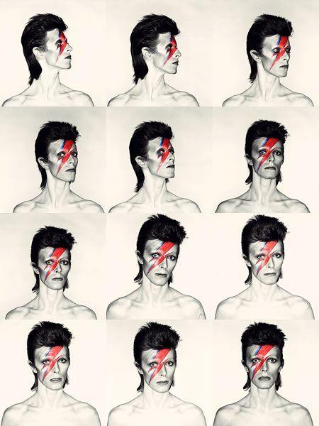 David Bowie: Aladdin Sane, 1973. Photo by Brian Duffy, makeup by Pierre LaRoche.