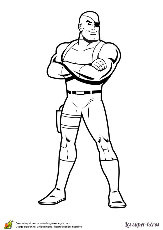 Coloriage Super-Héros Nick Fury Bandeau - Hugolescargot.com