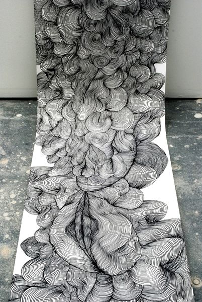 I first came across this line drawing by Sky Kim, an endless, voluptuous, billowing form, about a year ago, when I first joined Pinterest. I am always searching for inspiration for my embroidery art work. https://www.facebook.com/NaupliaEmbroideryArt