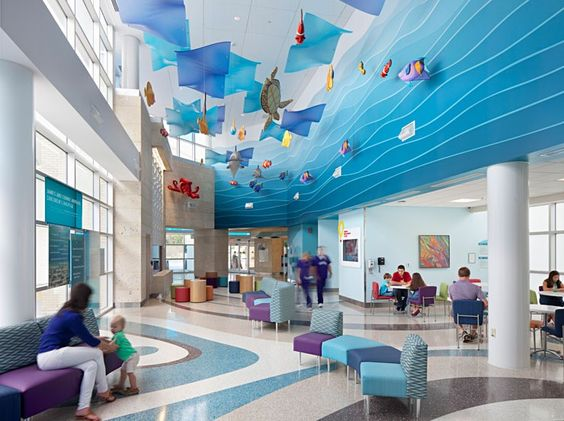 Children's clinic in lilac and blue tones