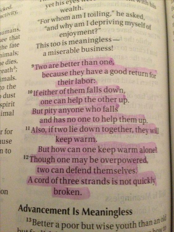 verses for wedding Ecclesiastes 4:9-12    (:
