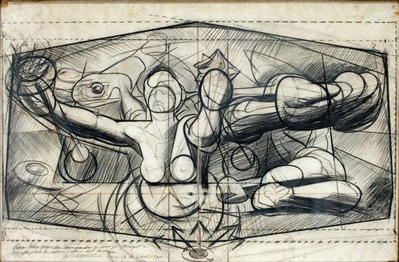 Boceto mural de david alfaro siqueiros en el palacio de for El mural de siqueiros
