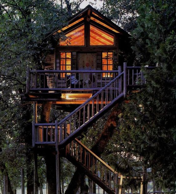 Treehouse bed and breakfast and resorts on pinterest for Houses built in trees