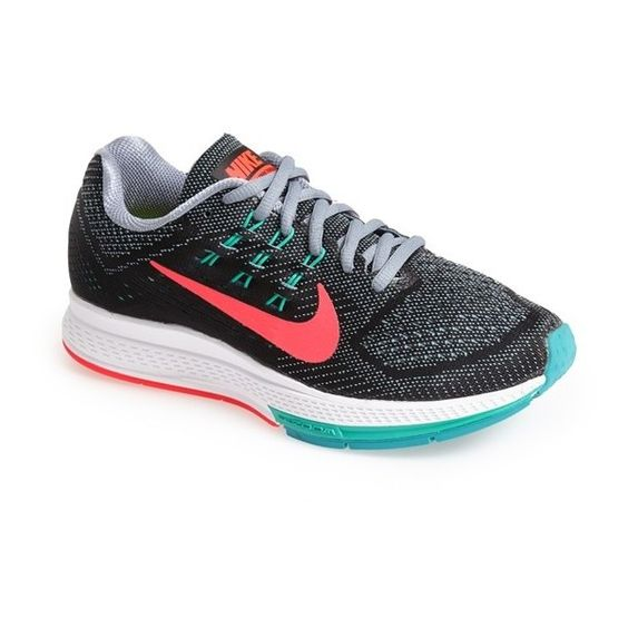 Nike 'Air Zoom Structure 18' Running Shoe (170 AUD) ❤ liked on Polyvore featuring shoes, athletic shoes, nike, wide shoes, neon athletic shoes, light weight running shoes i mesh running shoes