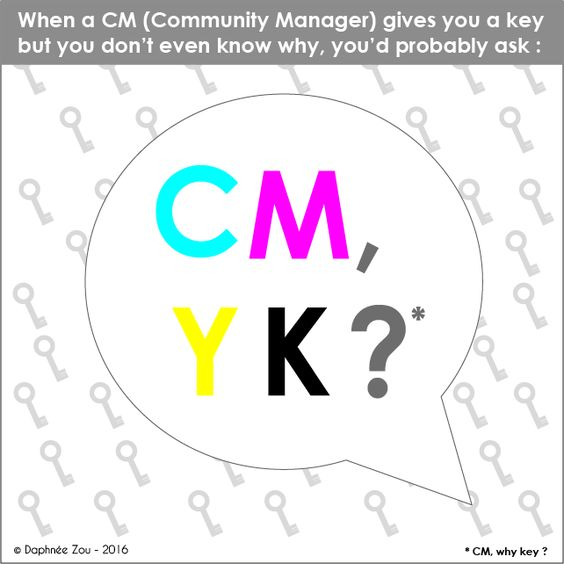 """When a Community Manager gives you a key but you don't even know why, you'd probablt ask : CM, Y K ?"" (Have a check on my portfolio #Behance) #CMYK #CMJN #Graphist #RGB #RVB"