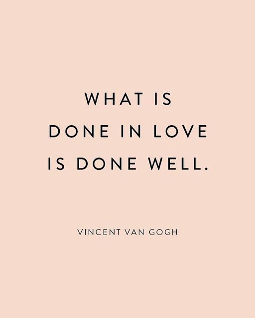 A pink quote by Vincent Van Gogh about love