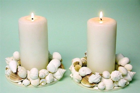 Beach Decor 2 Seashell Candle Rings by SeashellCollection on Etsy, $65.00