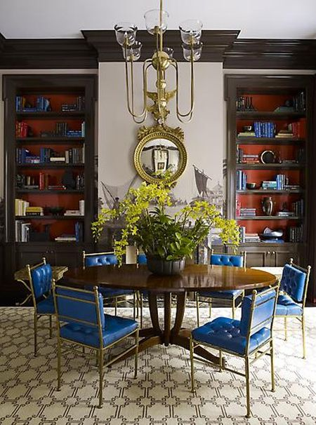 Dining Room designed by Steven Gambrel | House & Home  Stimulating color palette.